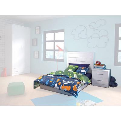 Cabecero + Mesitas Dormitorio Juvenil Azul