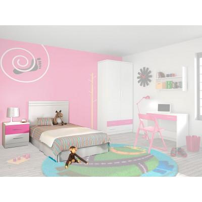 Cabecero + Mesita Dormitorio Juvenil Rosa